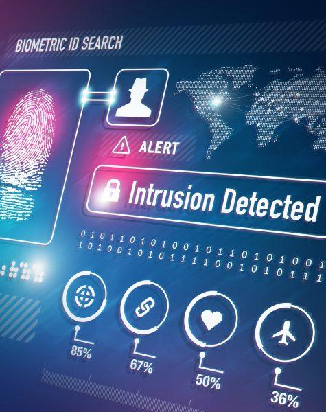 Biometrics and Fingerprint Scan Security Technology Concept